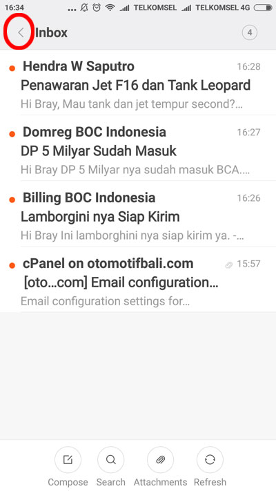 Tampilan Inbox di Android