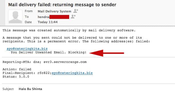 Blokir Email Berhasil