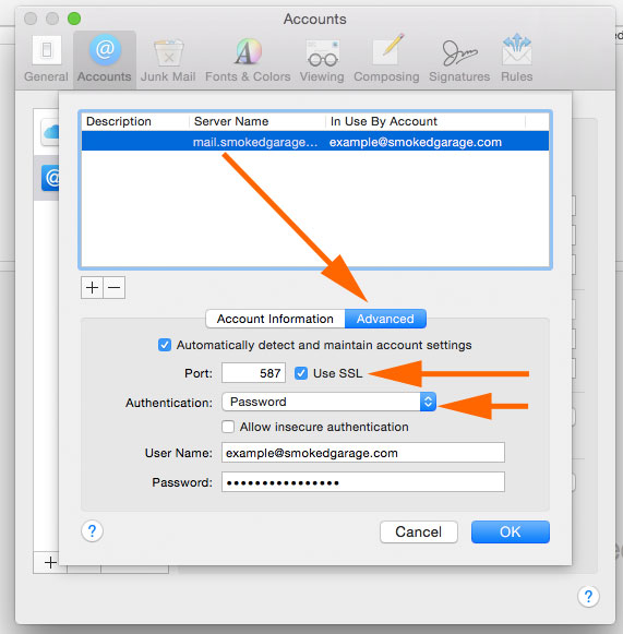 Mac Mail Preferences, SMTP Outgoing Setting