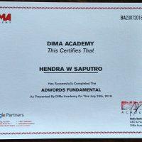 Sertifikat Hendra workshop google adwords