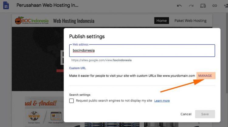 custom domain google site manage