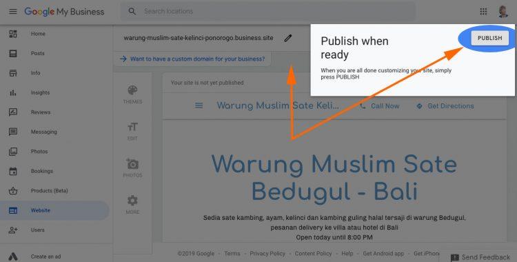 Pemberitahuan Publish google site