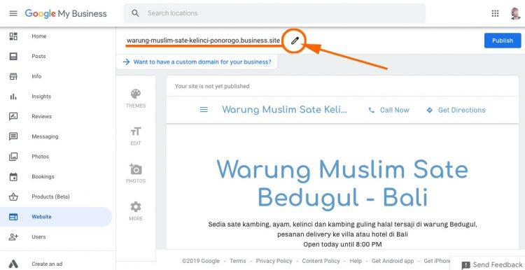 Editing nama di google site google bisnisku