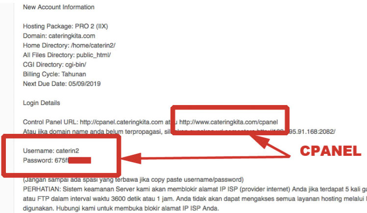 Isi aktivasi web hosting untuk install wordpress