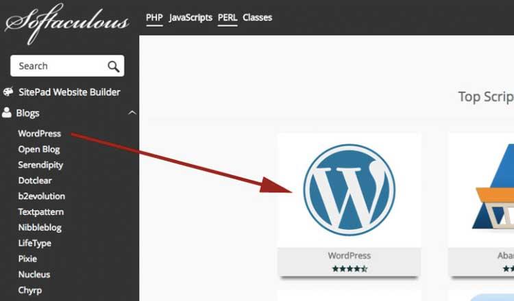 Klik icon wordpress untuk install