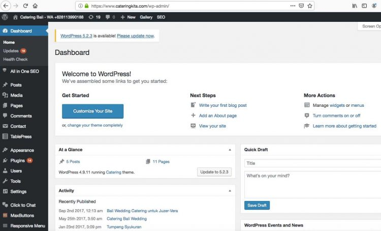 Dashboard wordpress