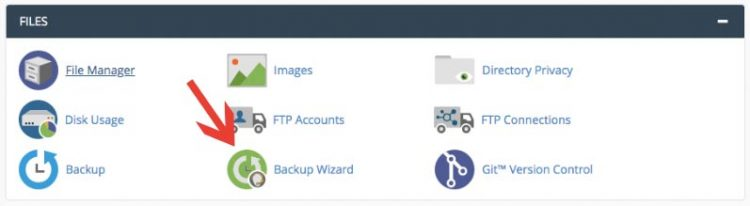 Klik Backup Wizard