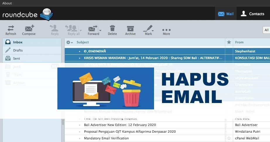 cara hapus email dengan webmail cpanel