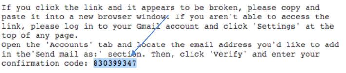 Kode verifikasi cara setting email di gmail